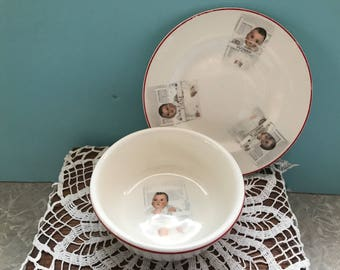 Vintage 1930's Dionne Quintuplets plate and bowl set. #776