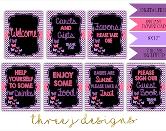 Butterfly Baby Shower Table Sign Package - Bundle of 7 Signs - INSTANT DOWNLOAD - Purple and Pink - Digital Files - J002