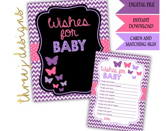 Butterfly Baby Shower Wishes for Baby Cards and Sign - INSTANT DOWNLOAD - Purple and Pink - Digital File - J002