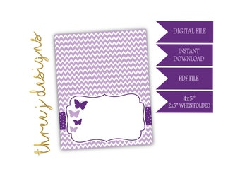 Butterfly Baby Shower Food Tent Cards - INSTANT DOWNLOAD - Plum and Lavender - Digital File - J004