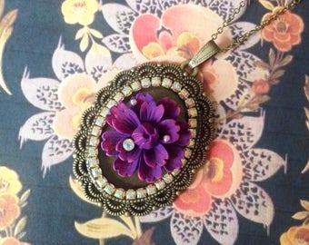 New flower pendant necklace purple
