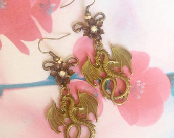 Dragon and flowers earrings