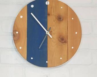 Round Wall Clock - Blue Stripe & White Dots