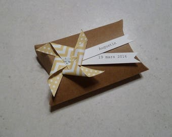 Box dragees windmill dots yellow chevron - thank you gift + kraft invited birthday, christening, wedding