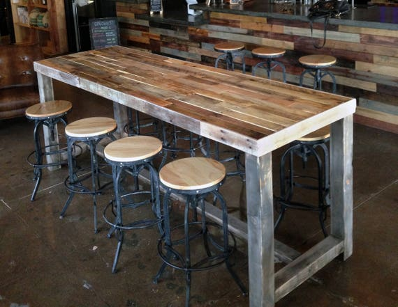 Reclaimed wood bar restaurant counter community rustic custom - How to build a korean bbq table ...