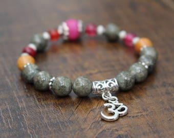 Gemstone bracelet, om (aum) charm