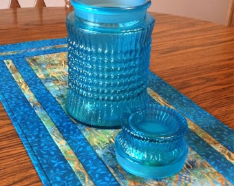 Antique glass jar, antique aqua blue glass jar, vintage blue canister, cookie jar, teal blue glass jar with lid