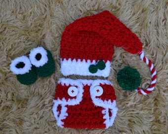 Baby Christmas Outfit, Baby Clothes Christmas, Crochet Christmas Outfit, Newborn Santa Outfit, Baby Girl Christmas Outfit Newborn Photo Prop