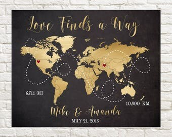 Long Distance Relationship Map, World Map, Deployment Gift, Personalized Map, Gift for Boyfriend, Gift for Husband, Fiance, Love, Military