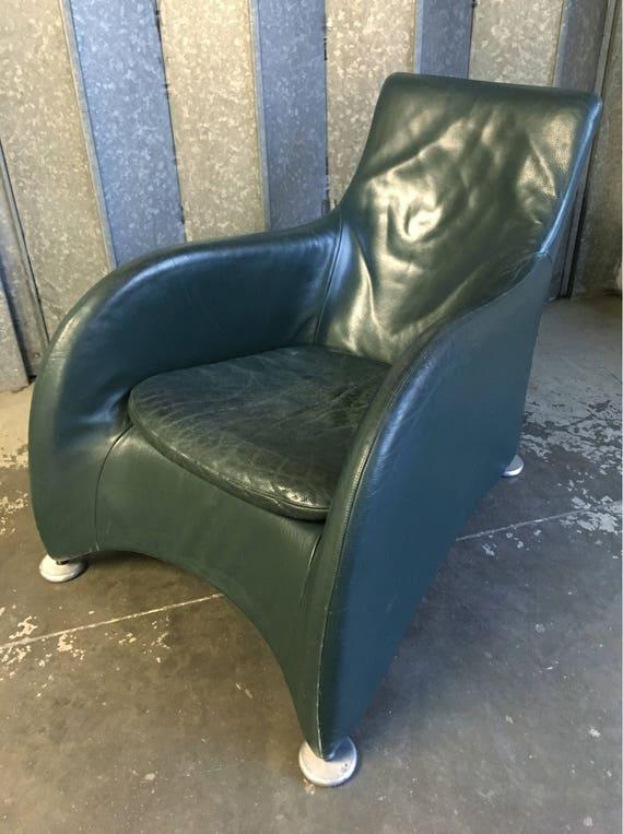 Vintage Montis Loge armchair designed by Gerard van den Berg circa 1990's racing green leather