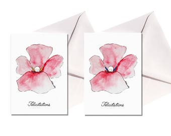 Set two birth flowers cards, white envelopes.
