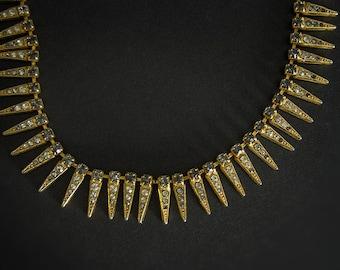 Vintage 1940's Art Deco Costume Jewellery Necklace, Vintage 1940's Art Nouveau Costume Jewelry Necklace, Vintage Rhinestone Costume Jewelry