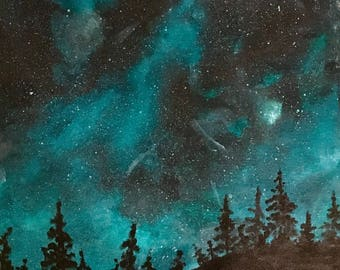 Acrylic-Forest at Night II