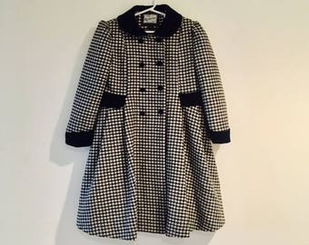Vintage Young Girls Winter ROTHSCHILD Dress Coat / Black and White Wool Houndstooth Double Breasted Jacket Size 5