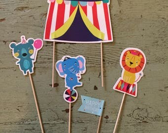 Circus Cake Topper.  Animal Cake Topper. Circus Party Decorations.  Long Decorative Food Sticks. Party Picks