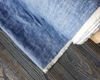 Washed denim linen fabric by the meter, tissu au metre flax fabric, denim jeans linen fabric by the yard 200GSM, melange blue linen fabric