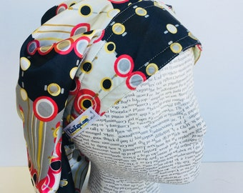 Satin Traditional Bouffant Scrub Cap scrub hat featuring a black gray yellow and red pattern