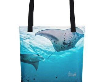 Blue Water Mantas Tote bag