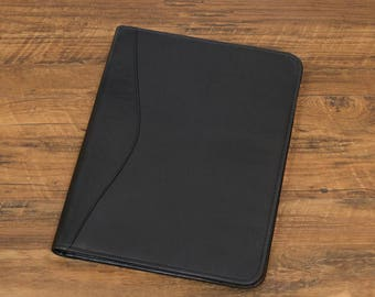 Personalized Custom Handcrafted Genuine Leather Zippered Portfolio - Black + Custom Colours [P8339-18],  portefeuille, Black + customColours
