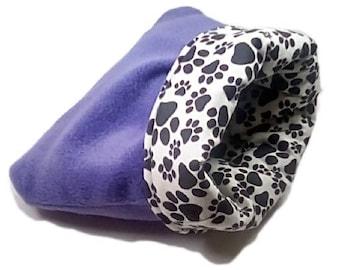 "Medium 20"" x 24"" purple pawprint dog bed or cat bed, plush, reversible, 3 layers"