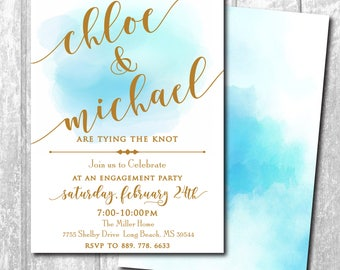 Engagement Party Invitation gold, watercolor, printable/Digital file/calligraphy, simple, classic, engagement dinner/Wording can be changed