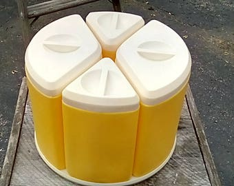 like new Vintage lazy susan/canister set in yellow and cream