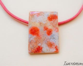 Red silver necklace and gold handmade