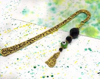 Book lover gift - Cat charm bookmark - Beaded bookmark - Bookmarks for books - Golden hook book mark - Gift for cat lover