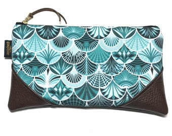 Large Deco Mermaid Scales x Brown Zipper Pouch / Clutch in Turquoise with inside lining and Zipper Pull or Leather Wristlet Strap