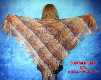 Brown shawl,Hand knitted shawl,russian shawl,warm wrap,lace shawl,goat down shawl,square shawl,wool wrap,handmade cover up,kerchief,cape