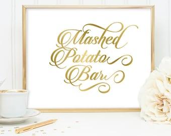 Mashed Potato Bar Sign DIY, Wedding Food Label / Gold Wedding Sign / White Gold Calligraphy, Faux Metallic Gold ▷Instant Download JPEG