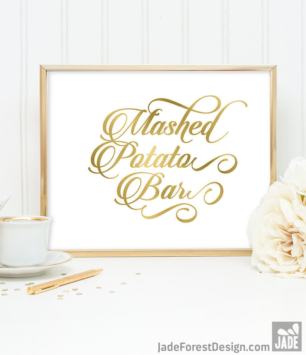 Mashed Potato Bar Sign DIY, Wedding Food Label / Gold Wedding Sign ...