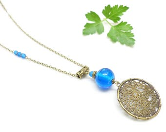 Bohemian chic Necklace ~ blue highlights ~