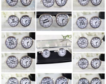 Clock Face Personalised Wedding Cufflinks Date and Time Meet Me Te The Altar Grooms Man Best Man Usher Page Boy Father Brother Grandfather