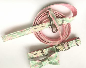 Pink Floral Dog leash - Mint and Pink Spring leash - Floral dog leash - Girl dog leash - Dog leash for girls - Mint and Pink  Dog leash