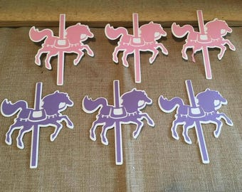 Carousel Horse Die Cut Set of 6, Carousel Party, Baby Shower, Girls Birthday