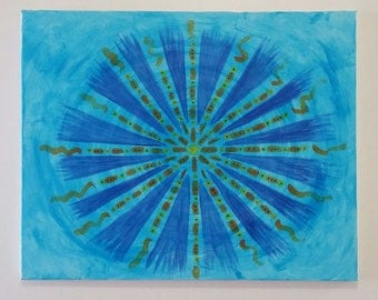 Blue Energy Mandala Original Painting Wall Art 16 x 20 Inches