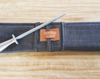 7 slot Gray/Blue Denim Knife roll, knife case, chef case, chef roll (personalized with initials or name)