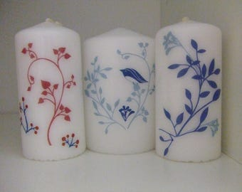 Set of 3 candles decorated