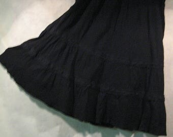 Black Gypsy Skirt, Size XL Gypsy Skirt, Black Boho Skirt, Black Hippie Skirt, Womens Size XL Skirt, Black 5 Tiered Skirt, 5 Tier Skirt