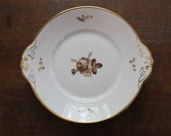 Vintage ROYAL COPENHAGEN Brown Rose Gold Trim Cake Dessert Plate Fine China Made in Denmark