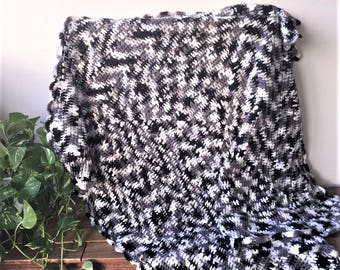 Handmade Crochet Blanket,Throw, Afghan, lounge gift, bedding gift, black white grey blanket, warm, housewarming gift, Etsy Australia