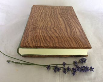 Hand bound Journal / notebook / sketchbook with leather spine and wooden covers