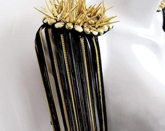 2 PCS.Sauri Gold Epaulet,Spiked Epaulette,Gold Studs Pads with Black Fringe and Gold Chain,Shoulder Embellishment,Gold Epaulette