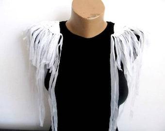 Flyaway Epaulet 2pcs White Tulle Shoulder Pads Braid Shoulder Pads Fringe Tulle Epaulette Shoulder Embellishment DIY Craft/shoulder epaulet/