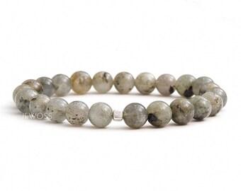 Labradorite bracelet Labradorite jewelry Stacking bracelet Beaded stretch bracelet Grey gemstone jewelry Strength stone Protection talisman