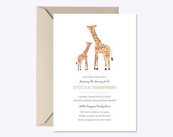 GIRAFFE BABY SHOWER Invitation, baby Shower Invitation Giraffe, Prints or Digital - Free Envelopes - 4x6 or 5x7