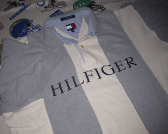 90s Tommy Hilfiger SPELLOUT Polo Shirt - sz XXL - vintage tommy big logo flag