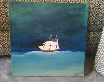 Stormy Seas Ship Acrylic Painting on Canvas