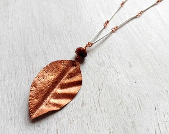 Long necklace with copper leaf, long chain copper and silver, gift for you, mother Gift, graduation party, Mother's Day gift